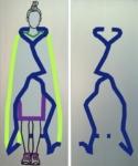 """Titel: """"Grüne Decke"""" / Diptychon / Größe: 2 x (208 x 84) cm Keilrahmen / Leinwand / Acryl"""