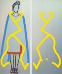 "Title: ""Blue Blanket"" / diptych / Size: 2 x (208 x 84) cm Stretcher / canvas / acrylic"