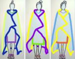 Drei Frauen mit Decken / je 208 x 84 cm Keilrahmen / Leinwand / Acryl