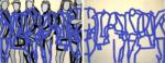 "Title: ""Peergroup_blue"" / diptych / Size: Diptych 2 x (180 x 140) cm / acrylic / canvas / stretcher"