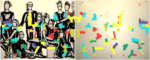 """Title: """"Peer group youth"""" Diptych / Size: 2 x (190 x 150) cm acrylic / canvas / stretcher"""