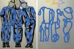 "Titel: ""Peergroup_Friends"" / Diptychon / Größe: 2 x (150 x 110) cm / Acryl / Leinwand / Keilrahmen"