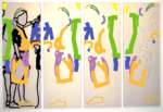 25/28 Title: Gambling ornaments / Two-piece / size: 4 x (140 x 50) cm / acrylic / canvas / stretcher