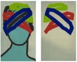"Title: ""secret"" / size: Diptych 2 x (120 x 70) cm / acrylic / canvas / stretcher"