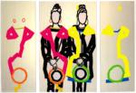 Title: two hats I/shoulder to shoulder. Size: Triptychon 1 x (160 x 100)cm + 2 x (160 x 60) cm, Canvas/Acryl