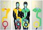 Titel: Zwei Hüte III -Schulter an Schulter. Größe: Triptychon 1 x (160 x 100) cm + 2 x (160 x 60) cm / Acryl / Lleinwand / Keilrahmen