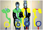 "Titel: ""Zwei Hüte II -Schulter an Schulter"" / Größe: Triptychon 1 x (160 x 100)cm + 2 x (160 x 60) cm, Acryl / Leinwand / Keilrahmen"