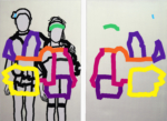 """Title: """"two kids/we remain friends"""" diptych: 2 x (120 x 80) cm Stretcher / canvas / acrylic"""