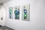 "Peter-Nowotny_2018_5. ""Meine große Schwester mit Ball"" Triptychon / Größe: 3 x (115 x 80 )cm / Acryl / Leinwand / Keilrahmen"