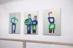 "Peter-Nowotny_2018_6. ""Meine große Schwester mit Ball"" Triptychon / Größe: 3 x (115 x 80 )cm / Acryl / Leinwand / Keilrahmen"